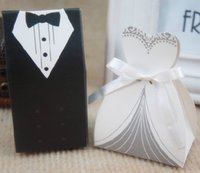 Wholesale Cheap Bride Dress and Groom Suit Candy Box Popular Style Europe and The United States Black and Ivory