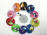 Wholesale 3 FT Noodle Flat Braid Charging Cord Dual Color Sync Fabric Micro Wire USB Data Cable Line SamsungS3 series Note2 HTC