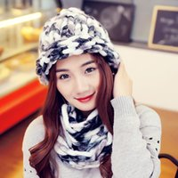 bad hair pieces - Scarf Hat Two Piece Knitted Hat Gorros De Lana Blending Elegant Winter Hats For Women Thicken Gorros De Lana Mujer Bad Hair Day
