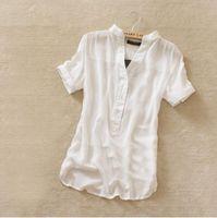 silk blouses for women - Retail new fashion womens summer chiffon shirt silk tops loose blouses shirts for women