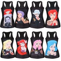 ariel fashion - New women t shirt The Little Mermaid vest Ariel Cartoon print camisole Sexy fashion punk