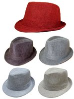 Wholesale Linen Fedora Hats Children s Fedoras Boy s and Girls Caps Hat Grid cap For kids Red Coffee Grey