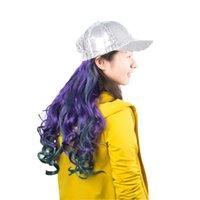 baseball cap wigs - Wig Baseball Cap Women Sequin Caps with Long Horsetail Hair Extension Cool Hats for Women