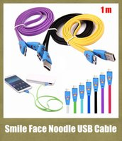 Wholesale v8 micro data sync cable smiley LED light visible m noodle cable adapter for samsung s3 s4 s5 note colorful freeshipping CAB005