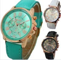 Wholesale Unisex Geneva Leather PU Quartz Watches Men Women Luxury Brand Numerals Roma Men s Watch Casual dress wrist watches