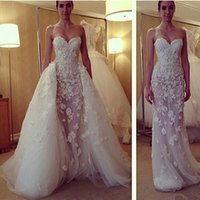 Cheap 2016 Saudi Arabic Wedding Dresses Mermaid Sweetheart Appliques Beads Sheer Underskirt with Detachable Sweep Train Bridal Gowns Dhyz