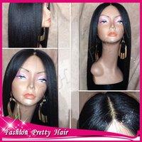 glueless wig - 4x4 Yaki Straight Silk Base Wigs Virgin Brazilian Human Hair Italian Yaki Silk Top Lace Front Wig Glueless Full Lace Wig No Silk
