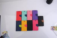 Mercury Portefeuille PU cuir Flip Case Stand Avec support de carte de crédit pour iPhone 5S 6 6S Plus Samsung Galaxy S3 S4 S5 S6