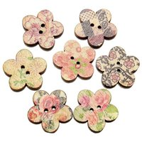 achat en gros de fleur scrapbooking en gros-Grossiste 100 Pcs Mixed Patterns Boutons en bois Fleur bouton de couture 2 trous Scrapbooking Craft vêtements Décorations Hot Selling