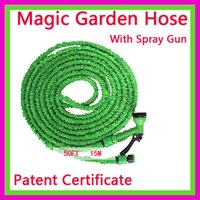 Wholesale Green Wholesales FT Foot Expandable Retractable Flexible FT Magic Garden Water Watering Hose Pipe For Car with Metal Gun
