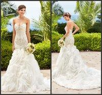ariel wedding dress - Modern Sweetheart Neck Mermaid Wedding Dresses Major Beaded Corset Bodice Covered Buttons Kitty Chen Ariel Bridal Gowns VC Ruffled Organza