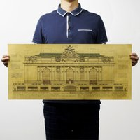 architecture drawings - Grand Central Terminal Architecture Drawing Nostalgic Retro Kraft Paper Poster for Home Cafe Bar Decoration x33cm