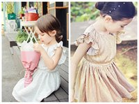 Cheap girls fly sleeve summer dress children party dress gold silver dress girls birthday dresses for kids free shipping in stock