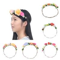 silk hair band - New Arrival Women Hair Rope Head Band Fashion Style Wedding Hawaii Bridal Girl Head Flower Crown Head Wreaths Hair Accessories SFG1