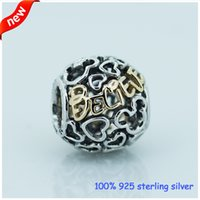 Slides, Sliders real silver jewelry - pandora believe Charm Real gold Sterling Silver Jewelry charms beads Accessories Fit threaded Bracelet CE472