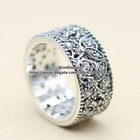 Wholesale 925 Sterling Silver Shimmering Leaves Ring with Clear Cubic Zirconia Fits European Pandora Style Charms Fashion Jewelry Women Wedding Ring