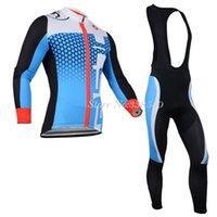 Wholesale New Winter Thermal Fleece cycling jersey cycling clothing men Long Sleeve Bib Pants Bike Clothes Breathable S XL