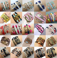 stainless steel rope - Hot sale style Infinity Bracelets for sale Fashion Jewelry Leather Infinity Charm Bracelet Vintage jewelry discount DR