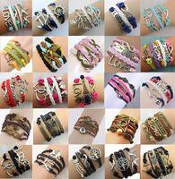 Charm Bracelets lobster claw - Hot sale different style Infinity Bracelets Fashion Jewelry Leather Infinity Charm Bracelet Vintage jewelry DR