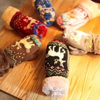 Wholesale Hot Christmas gift Cute Fawn Ladies Girls Mitten Knitting Wool Fur Wrist Winter Warm Gloves