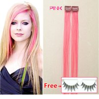 Wholesale PINK hair Mix colour per pack cheap clip in human Hair Extension remy hair clip ins red pink burg blue