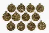 zodiac charms - Antiqued bronze mm Cabochon Settings Zodiac Charms