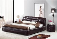 Wholesale GENUINE LEATHER BED NOBLE STYLE BLACK BROWN SIMPLE FASION DOUBLE PERSON GOOD QUALITY CM A22D