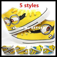 Cheap 5 styles Despicable Me Minions neutral canvas shoes, casual men's 2015 women 's high-top hand-painted shoes size 34-43