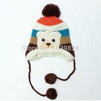 Unisex bear hooded scarf - New Arrival Autumn Winter Baby Kids Boy Girl Bear Hats Hooded Scarf Earflap Knitted Crochet Cap Beanie
