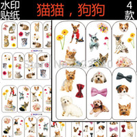 animal nail stickers - Hot Sale Sheet Cute Cat Dog Animals Series Pattern Water Decals Transfer Stickers On Nails Nail Art Decoration Nail Tools