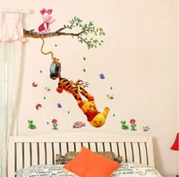 Wholesale Cartoon wall wall winnie the pooh and tigger children room adornment wall stickers cm