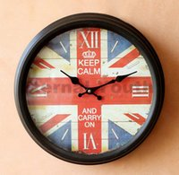 antique clocks uk - England Round Wooden Vintage Wall Clock Antique UK Home Decoration Gift