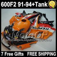 Wholesale 7 gifts tank For HONDA CBR F2 F2 CBR600RR FS CBR600 F2 Repsol CBR600F2 C orange red CBR F2 fairings kits