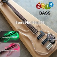 custom acrylic - Top Quality Factory Custom string P Electric Bass guitar fd transparent acrylic Body with LED light V T Real photo shows