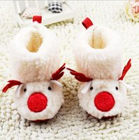 baby deer crib shoes - 3 pairs Lovely white Christmas deer Toddler Baby Girl Shoes Prewalker Baby Walker Crib Soft Winter Boots Princess Shoes Christening Shoes