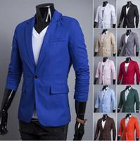 Wholesale 2014 new arrive fashion slim men s suits A buckle Casual Linen men s coat mens clothing jacket colours Sapphire blue