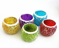 Wholesale Mosaic glass candle holder tea light candle stand event wedding home decoration