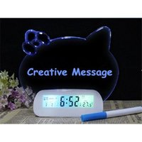 Wholesale Cute Cat Message Board Mute Digital Alarm Clock Colorful Luminous Personality Clocks