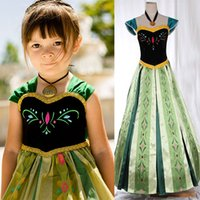 Wholesale 2015 Frozen Snow queen Anna Cosplay Costume frozen anna coronation dress kids gown dress Deluxe Cosplay frozen embroidered dress