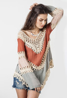 women - Blusa Feminina Women Crochet Knit Blouse Long Sleeve Summer Tops Woman V Neck Splice Shirt Hollow Out Clothes