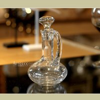 Wholesale Hannisidun handmade lead free glass wine decanters wine wine pourer with handle points
