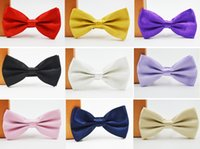 Wholesale Men s Bow Tie Solid Color Bowtie Adjustable Adult Butterfly Tuxedo Polyester Bow Tie For Men Colors To Choose