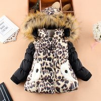 Wholesale Winter new girls thickening cotton padded clothes baby cotton padded jacket lambs wool warm leopard grain coat
