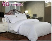 Wholesale White blue red yellow and more color cotton pure S satin weave comforter hotel bedding set Full Queen King hotel hospital gasthaus