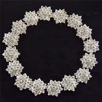 Wholesale DHL free High quality mm silver alloy rhinestone button flat back DIY hair accessory headband PJ49