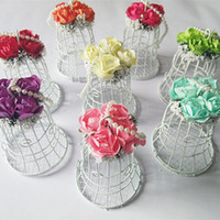 bell shaped flowers - New Wedding Favor Boxes White Metal Bell Birdcage Shaped with Paper Flowers and Beads Elegant Wedding Candy Favor Boxes