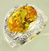 beautiful gemstone rings - Beautiful A0031 Plated Sparkly Austrian Zirconia Prong Luxury Oval Cut Amethyst White Topaz Gemstone Wedding Silver Ring