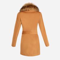 Women winter clothes women - Woman Clothes Autumn Winter Coat Big Fur Collar Elegant Long Outwear Bow Belt Long Sleeve Warm Winter Wool Coat LQ8888C