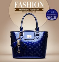 houndstooth - High quality Light Patent leather bags European new designer Handbags women famous brands luxury bag Classic Shoulder Bags totes blue