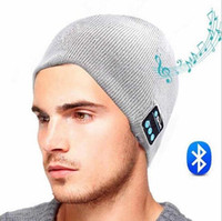 Wholesale 2016 New Chirstmas gift Bluetooth Music Hat Soft Warm Beanie Cap with Stereo Headphone Headset Speaker Wireless Microphone DHL free